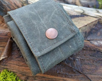 Imperfect Green Waxed Canvas Foraging Pouch, Bag, Perfect for when you need an Extra Pocket FREE U.S. SHIPPING