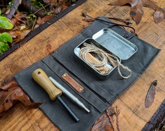 Waxed Canvas Roll Up Pouch for your Pipe, Tobacco, Pocket Stove, Repair Kit, Your Adventures, Outdoors and Everyday Living