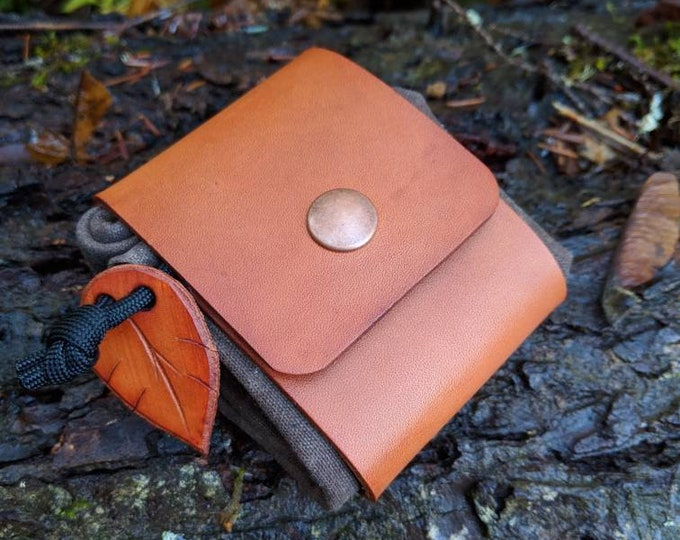 Handmade Tan leather and Canvas Bushcraft Foraging Pouch, Gathering Bag, Dump Sack, Extra Pocket FREE US Shipping