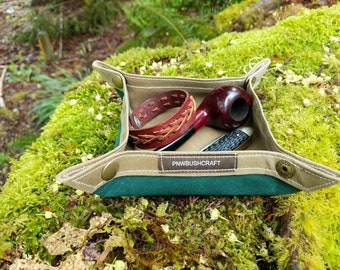 Two Toned Waxed Canvas Collapsible Tray for you Fire Supplies, Keys, Pipe, Watch, Adventures, Bushcraft and Everyday Travel by PNW Bushcraft