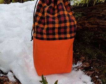 Hunter Orange Waxed Canvas and Plaid Flannel Ditty Bag for Bushcraft, Camping and the Great Outdoors by PNW Bushcraft