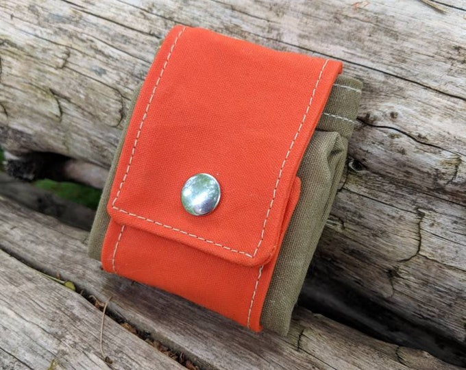 Orange and Tan Waxed Canvas Foraging Pouch, Sack, Bag, Perfect for when you need an Extra Pocket FREE U.S. SHIPPING