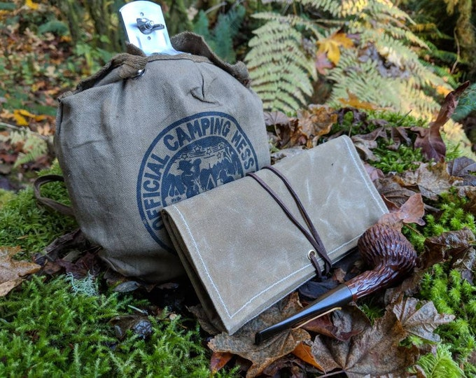 Waxed Canvas Roll Up Pouch with Wool Plaid Lining for your Pocket Stove,Compass, Pipe, Your Adventures, Outdoors and Everyday Living