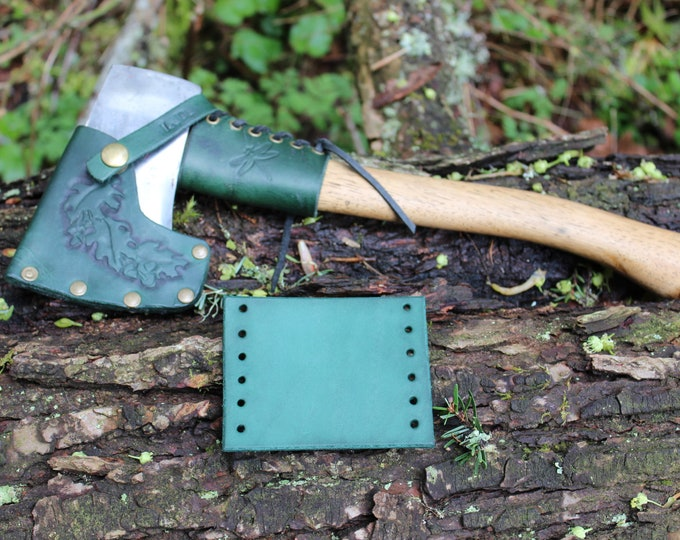 Leather Handmade Small Forest Axe Collar In Green by PNWBushcraft