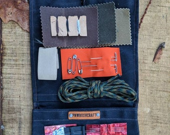 Waxed Canvas Roll Up Pouch with Arrow Lining for your Pocket Stove,Compass, Pipe, Your Adventures, Outdoors and Everyday Living