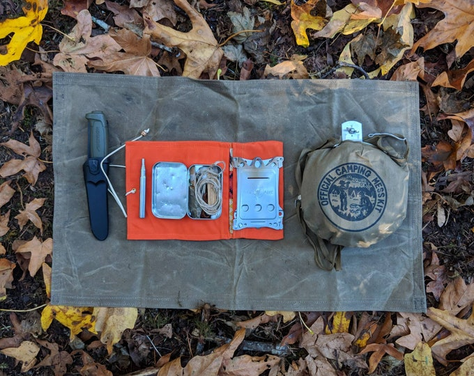 Orange Waxed Canvas Roll Up Pouch for your Pocket Stove,Compass, Pipe, Your Adventures, Outdoors and Everyday Living