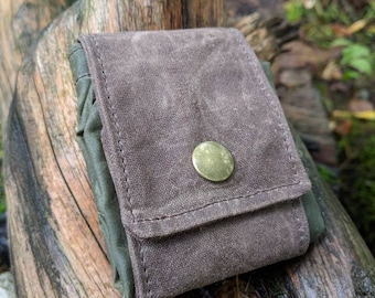 Dark Oak Waxed Canvas Mushroom Foraging Pouch, Sack, Bag, Perfect for when you need an Extra Pocket FREE U.S. SHIPPING