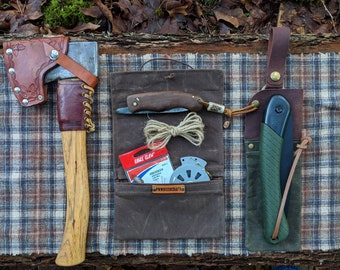 Waxed Canvas Roll Up Pouch with Lining for your Pocket Stove,Compass, Pipe, Your Adventures, Outdoors and Everyday Living