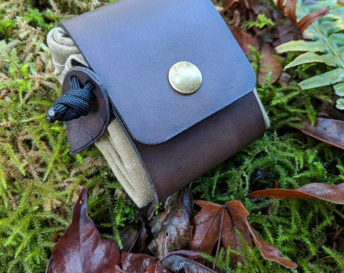 Handmade Brown Leather and Canvas Bushcraft Foraging Pouch, Gathering Bag, Dump Sack, Extra Pocket FREE US Shipping