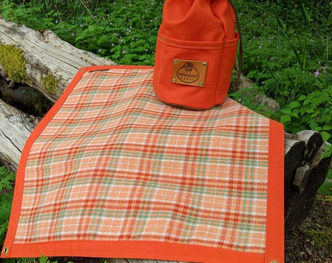 Vintage Wool Lined Orange Waxed Canvas Ground Cloth Junior  for Bushcraft, Outdoor Gear, Camping and Sitting
