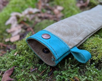 Handmade Waxed Canvas and Leather Bag for your Spork, Bushcraft, Camping and the Great Outdoors