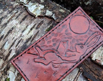 Hand Carved Reading Rabbit Leather Patch  for your Adventures, Bushcraft and Everyday by PNW Bushcraft  FREE U.S Shipping