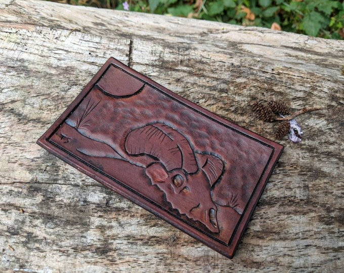 Hand Carved Leather Ram Skull Patch for your Adventures, Bushcraft and Everyday by PNWBushcraft