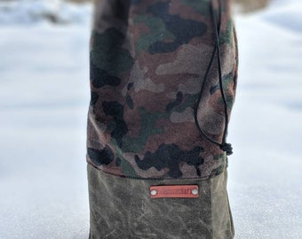 Olive Green Waxed Canvas and Camo Flannel Ditty Bag for Bushcraft, Camping and the Great Outdoors by PNW Bushcraft