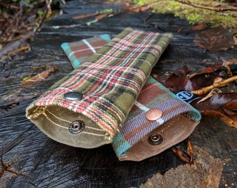 Handmade Waxed Canvas and Green Red Plaid Wool Spork Bag for Bushcraft, Camping and the Great Outdoors