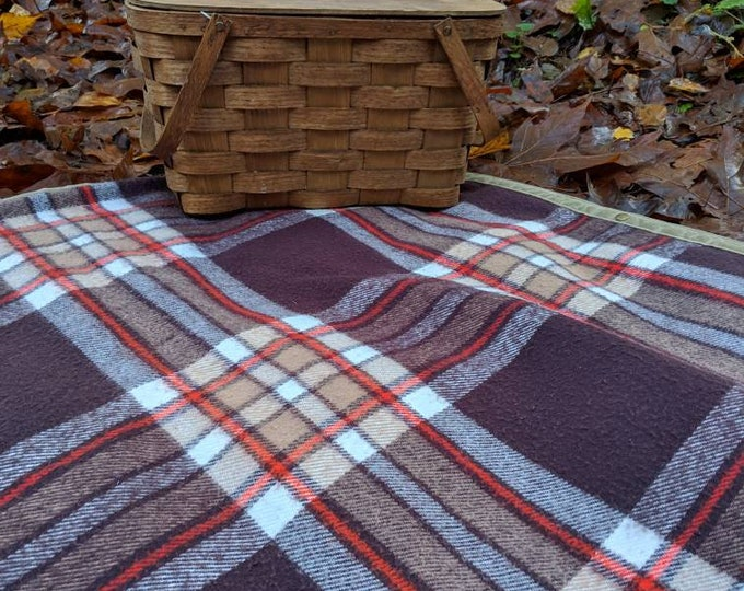 Vintage Wool Blanket and Waxed Canvas Ground Cloth for Bushcraft, Outdoor Gear, Camping, Sitting or a Picnic FREE U.S Shipping