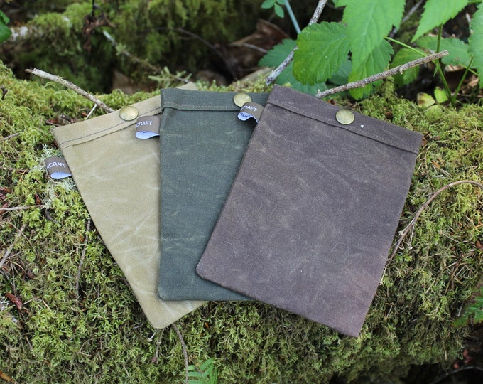 Set of 3 Handmade Waxed Canvas Ditty Bags with Snaps for Bushcraft, Camping and the Great Outdoors in Brown, Tan and Green