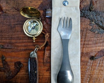 Handmade Waxed Canvas Spork Bag for Bushcraft, Camping and the Great Outdoors in Emerald Green
