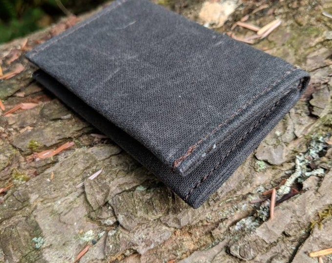 Minimalist Chocolate Blue Waxed Canvas Wallet for your ID, Credit Cards, Hunting or Fishing License