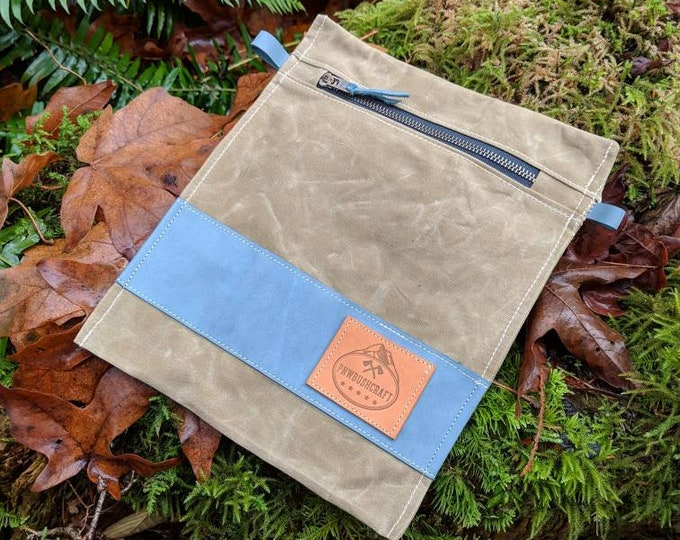 Imperfect Handmade  Waxed Canvas Pouch with Zipper for Supplies, Camping, Grooming and the Great Outdoors by PNW Bushcraft