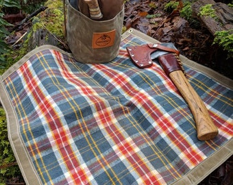 Flannel Lined Waxed Canvas Ground Cloth Junior  for Bushcraft, Outdoor Gear, Camping and Gardening