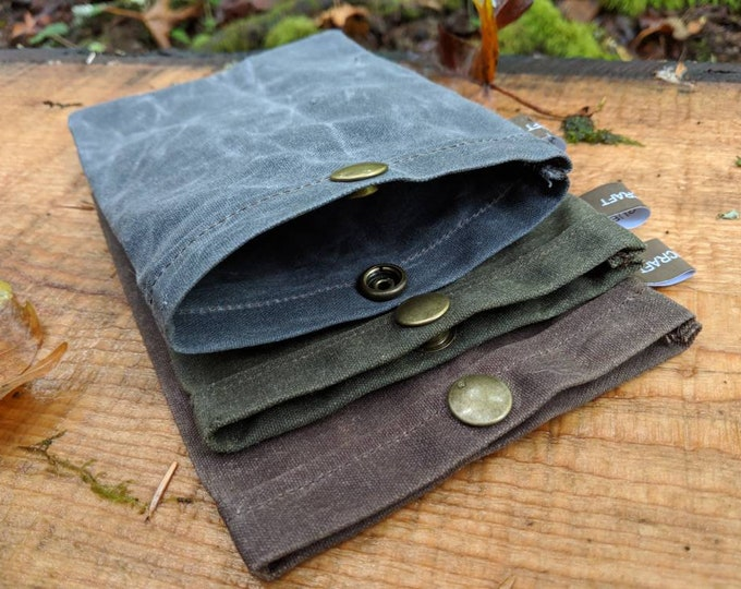 Set of 3 Handmade Waxed Canvas Ditty Bags with Snaps for Bushcraft, Camping and the Great Outdoors in Brown, Blue and Green