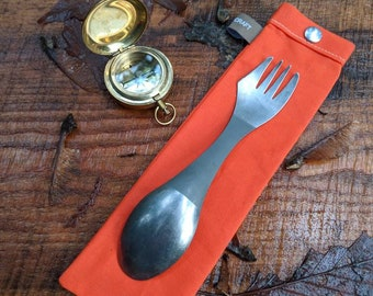 Handmade Waxed Canvas Spork Bag for Bushcraft, Camping and the Great Outdoors in Hunter Orange