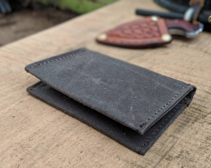 Minimalist Brown Waxed Canvas Wallet for your ID, Credit Cards, Hunting or Fishing License