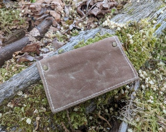 Minimalist Light Brown Waxed Canvas Wallet for your ID, Credit Cards, Business Cards, Hunting or Fishing License