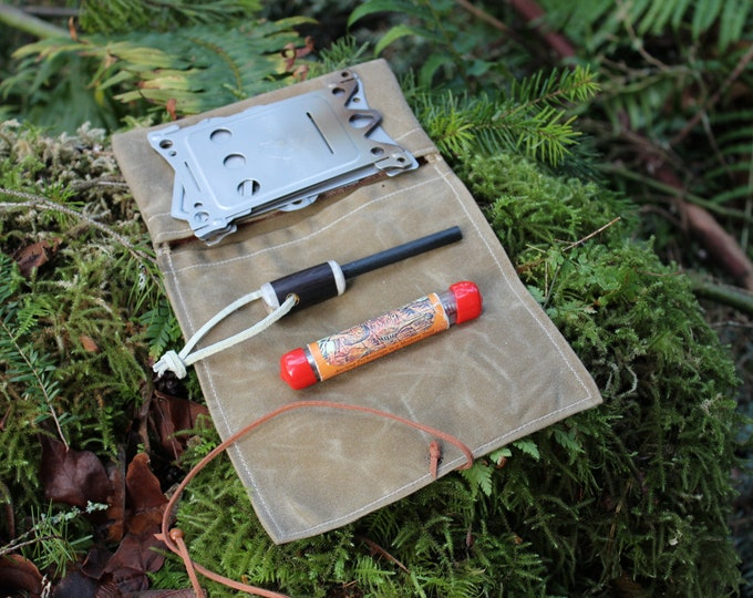 Waxed Canvas Roll Up Pouch with Plaid Wool Lining for your Pocket Stove,Compass, Pipe, Your Adventures, Outdoors and Everyday Living