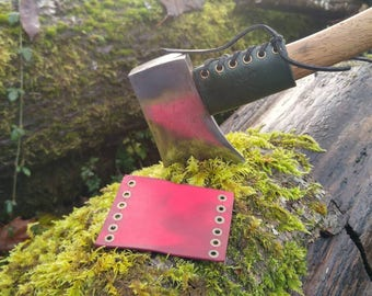 Leather Handmade Small Forest Axe Collar In Red by PNWBushcraft