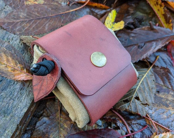 Handmade Reddish Brown Leather and Canvas Bushcraft Foraging Pouch, Gathering Bag, Dump Sack, Extra Pocket FREE US Shipping