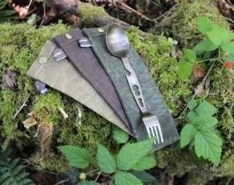 Handmade Waxed Canvas Spork Bag for Bushcraft, Camping and the Great Outdoors in Brown, Green or Tan