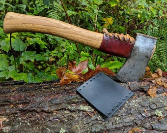 Black Leather Handmade Small Forest Axe Collar by PNWBushcraft