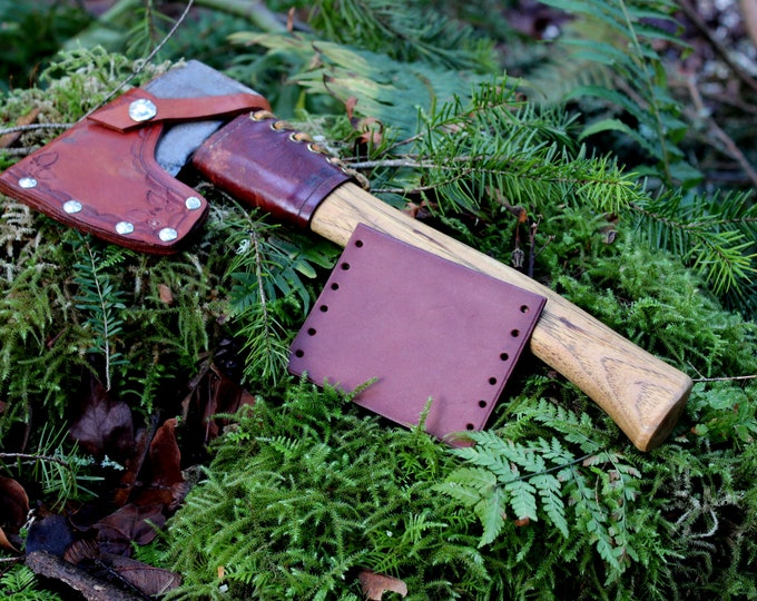 Leather Handmade Small Forest Axe Collar in Reddish Brown by PNWBushcraft