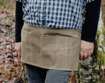 Heavy Duty Waxed Canvas Field Tan Apron with 3 Compartments for the Outdoors, Shop and Garden