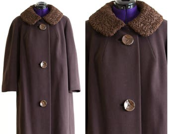 50s or 60s brown wool a-line coat with Persian lamb collar
