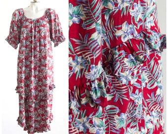 136445062c85 Vintage red Hawaiian muumuu with ruffles