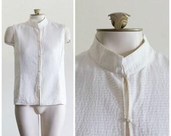 White silk vest with mandarin collar