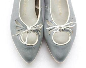Gray lace up mary jane flats