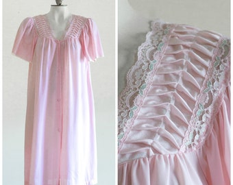 5d7203d8cd Pink button up robe with satin and lace details