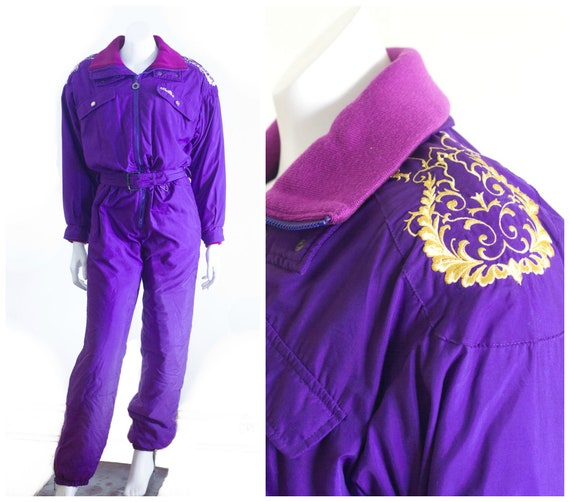 1980s/90s purple and gold snow suit