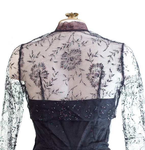 1950s black strapless fit and flare sparkly party… - image 3