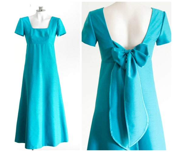 1960s blue silk gown with short sleeves