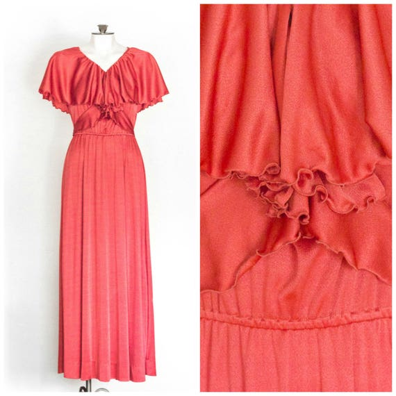 1970s coral sleeveless maxi dress with capelet