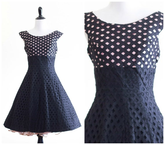 1950s pink and black eyelet fit and flare dress