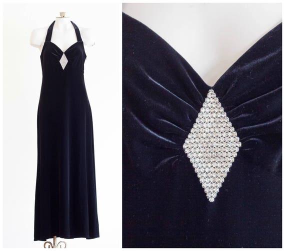 1990s black velvet halter top gown with rhinestone