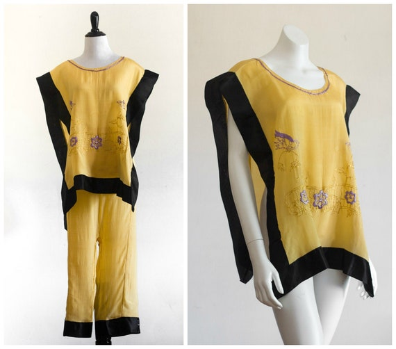 1920s yellow and black embroidered pajama set