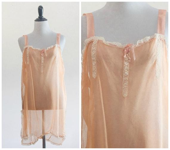 1920s peach silk teddy