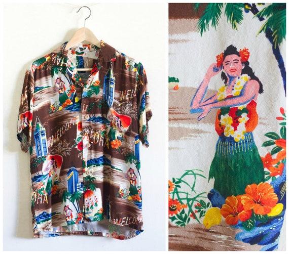 1950s Aloha shirt with hula girl print from Iolani
